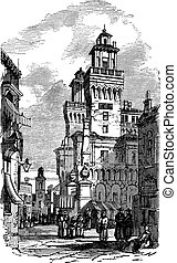Castle Estense or Castle of Saint Michele in Ferrara, Italy,...