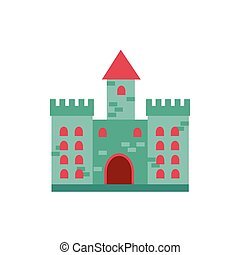 castle fairytale object isolated icon vector illustration ...
