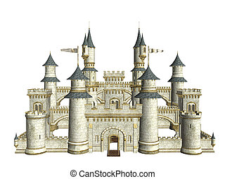Castle - Fairytale story castle on a white background