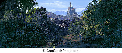 Castle Faraway - A country woodland scene with castle off in...