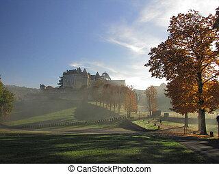 Castle, Fenelon, rampart, fortification, Fog