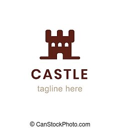 Castle flat logo design template