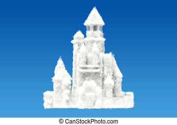Castle from clouds in the sky, 3D rendering