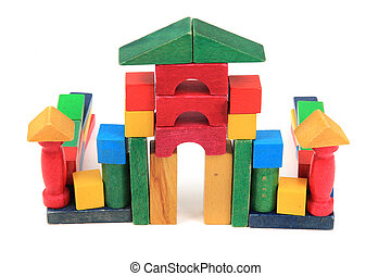 castle from wooden color bricks