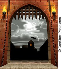 Castle Gate - Raster version of vector image of the medieval...