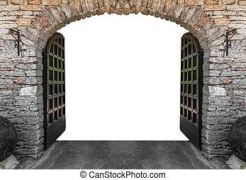 Castle gates isolated.