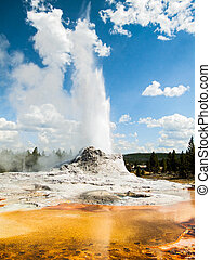 Castle Geyser Erupting with Colorful Pool - Castle Geyser,...