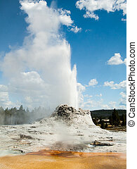 Castle Geyser Erupting with Colorful Pool