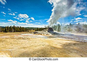 Castle Geyser of Yellowstone Park Erupting