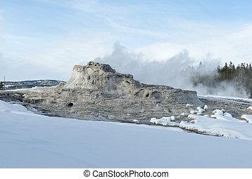 Castle Geyser, Winter, Upper Geyser Basin, Yellowstone NP, WY