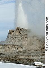 Castle Geyser Erupting, Yellowstone National Park, WY