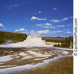 Summer view of the scenic Castle Geyser formation in Yellowstone National Park, Wyoming.