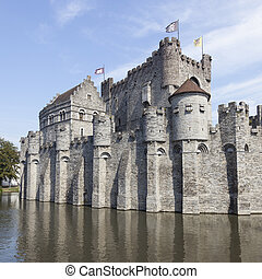 castle Gravensteen in the Beldian city of Ghent with...