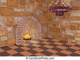 Illustration of medieval castle hall and fireplace