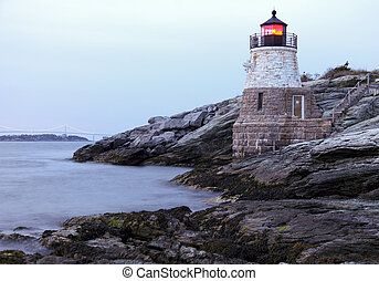 Castle Hill Lighthouse in Newport Rhode Island at sunset