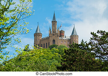 Castle Hohenzollern on the blue sky how background