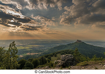 Castle Hohenzollern with view to the swabian alb