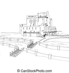 Castle House sketch at engraving style. Vector illustration.