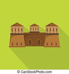 Castle icon, flat style