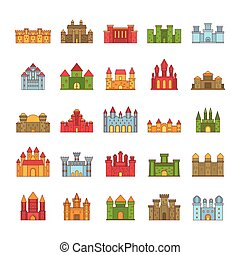 Castle icon set, cartoon style