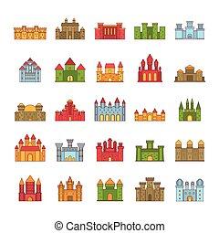 Castle icon set, cartoon style
