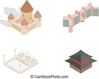 Castle icon set, isometric style
