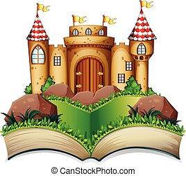 Castle - Illustration of a pop-up book with castle