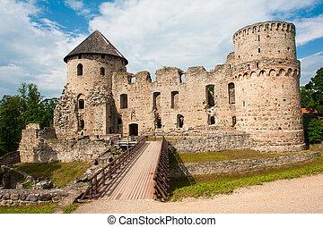 Castle in Cesis - Ruins of the beautiful castle in town of...