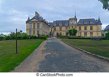 Castle in France. - Facade of the castle fortress in Grand ...