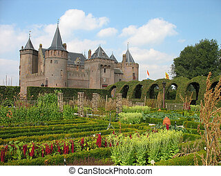 Castle in Holland with medieval herbal garden.
