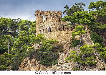 Castle in Lloret de Mar. Castell d'en Plaja, Costa Brava, Spain