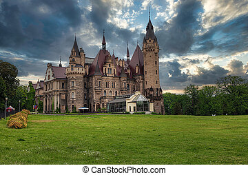 Castle in Moszna, near Opole, Silesia, Poland