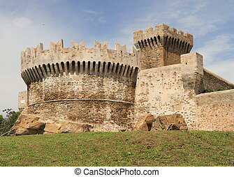 castle in Populonia - fortress of Populonia, Tuscany, Italy