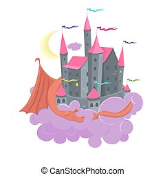 Castle in the clouds with a sleeping dragon. Children s illustration isolated on a white background. Vector image.