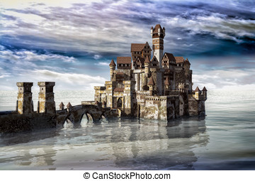 Castle in the lake - A stone bridge leads to the magical...