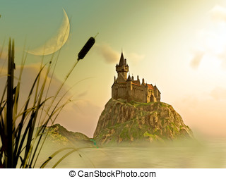 Castle in the mist - Framed by reeds, grass ,and cattail....