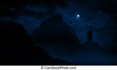 Castle In The Mountains With Full Moon Above - Barren...