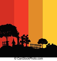 castle in the nature color vector