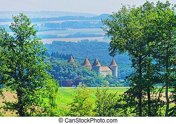 Castle in Yverdon in Jura Nord Vaudois Vaud Switzerland -...
