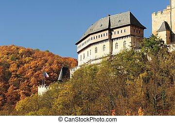 Castle Karlstejn - Autumn view of the castle Karlstejn in...