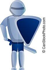 Castle knight icon, cartoon style