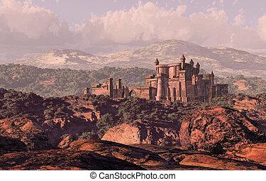 Castle Landscape - A distance medieval castle fortress in...