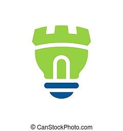 Castle light bulb logo icon, green color lamp symbol, vector illustration design