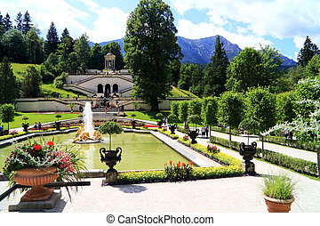Castle linderhof was built in 1869 with a view of the alps