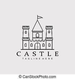 castle line art logo vector illustration design