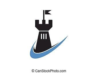 Castle logo icon vector illustration design template