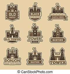 Castle logo. Medieval architectural castles with towers fort silhouettes vector monochrome logotype collection. Illustration building fort, history logo medieval