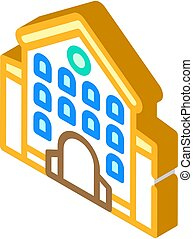 castle main building isometric icon vector illustration