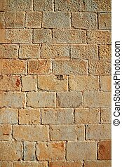 Castle masonry wall carved stone rows pattern texture -...