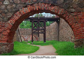 Moat and drawbridge in Trakai castle, Lithuania